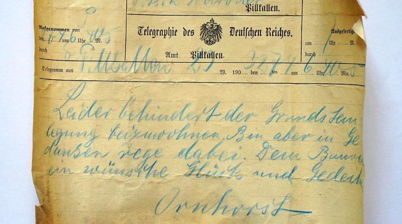 Telegramm nach Pillkallen aus einer Zeitkapsel